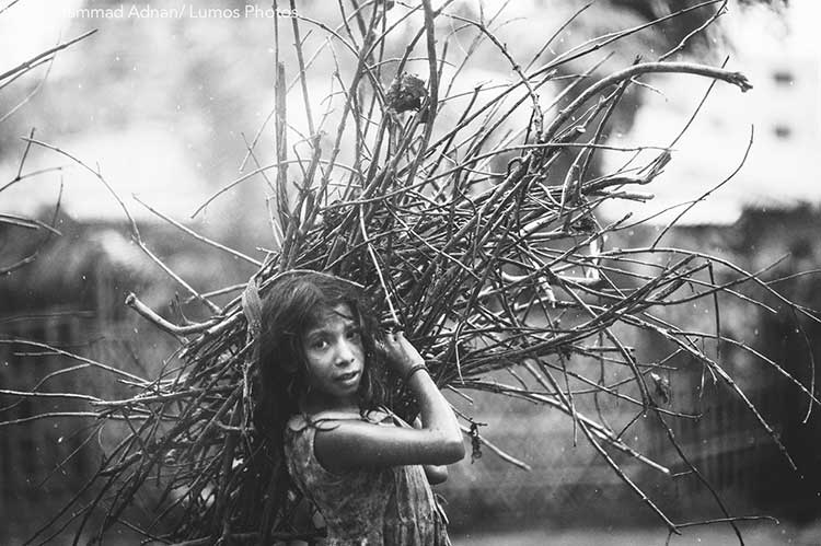 A girl brings in tree branches used as fuel