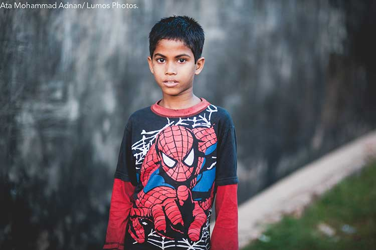 A t-shirt given away to the boy's mother where she works as a house maid