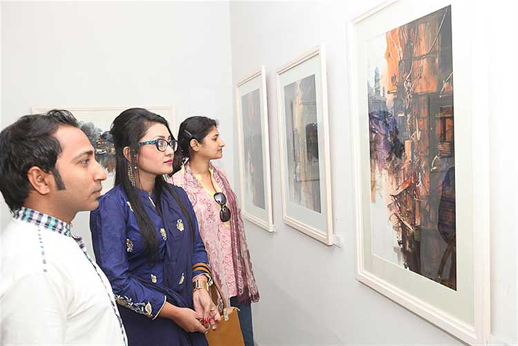 Viewers at exhibition