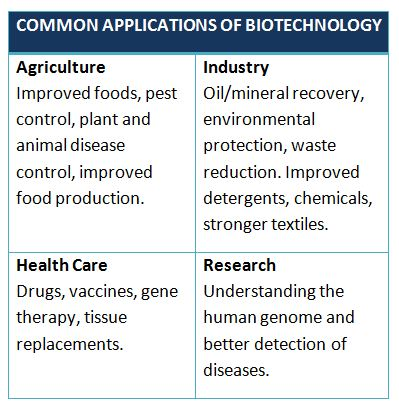 Common Applications of Biotechnology